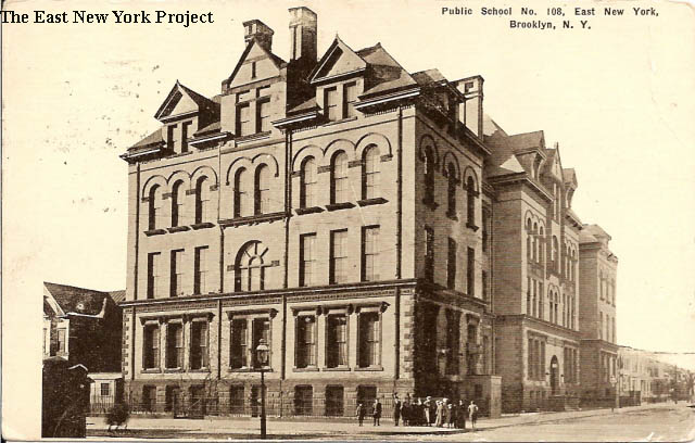 Public School 108,East New York, Brooklyn Maker: Kraus Dated: 1914 Status:  Own (BG) This Kraus card was postmarked in 1914; note the poles are gone.
