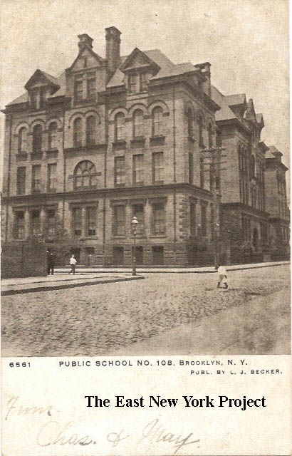 Public School 108, Brooklyn N.Y.. Maker: LJ Becker Dated: Unk Status: Own  (BG) Another rare maker for East New York. Clearly an early card with  cobblestone ...