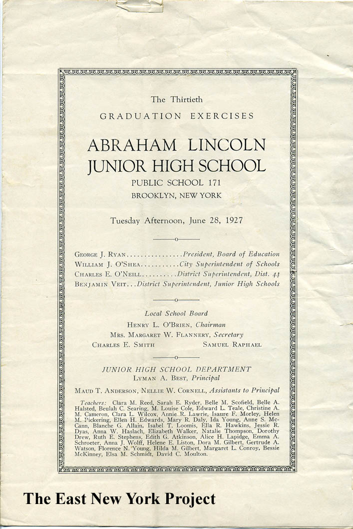 It appears graduation was held within the building. In the early days, elementary  school would only go up to 6th grade and students in East New York who ...